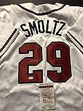 Autographed/Signed John Smoltz Atlanta Braves White Baseball Jersey JSA COA