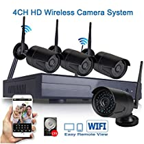 ICAMI 1.0MP Wireless IP Camera 720P Kits 4CH Wifi Camera Outdoor Waterproof Security Camera System NVR Kit with Plug and Play 1TB HDD Pre-installed