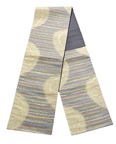 規模ライラック誤解するリサイクル 袋帯 正絹 六通 半円と縞模様