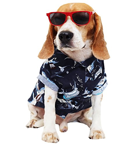 Dog Shirts Summer Camp,Dog Shirts,Dog Clothes,Small,Medium,Large,Colorful Shirts,T Shirt Pet Clothing , Puppy Clothes ,Summer Dog Apparel,Hawaiian Styles,Dark Blue Hawaiian Shirts (L)
