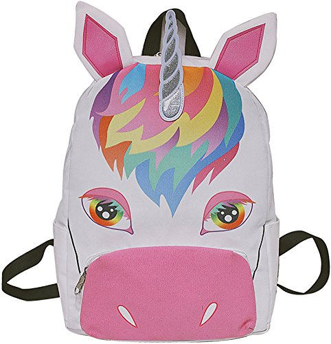 Ababalaya Durable Canvas Cute 3D Unicorn Print Backpack Book Bag School Bag for Girls Women
