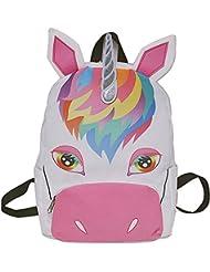 Ababalaya Durable Canvas Cute 3D Unicorn Print Backpack Book Bag School Bag for Girls Women
