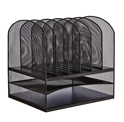 (Safco Products Onyx Mesh 2 Tray/6 Sorter Desktop Organizer 3255BL, Black Powder Coat Finish, Durable Steel Mesh Construction, Space-saving Functionality)