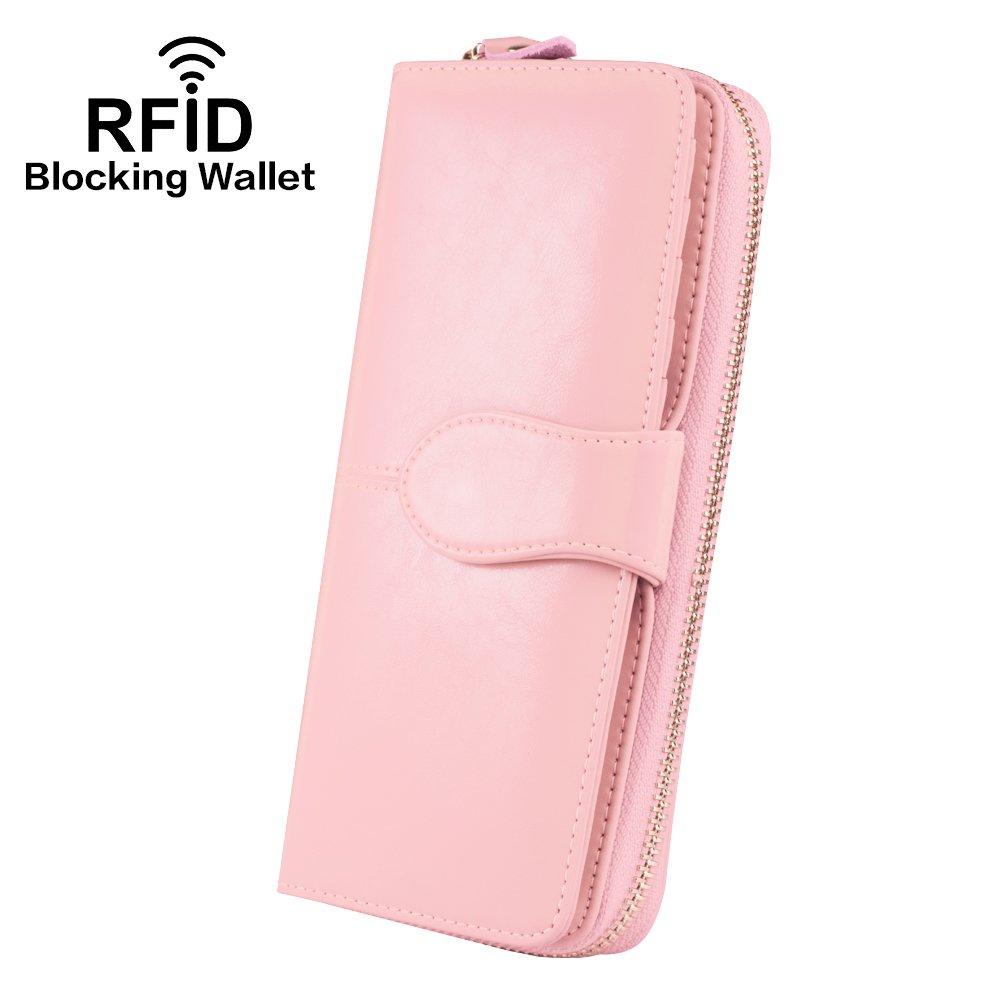 Ccinny Wallets for Women, Women's RFID Blocking wallets Ladies Purse (Pink)