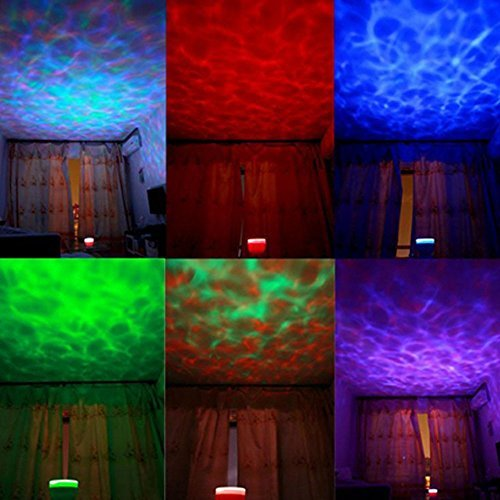 Redlution Ocean Wave Projector Lamp Romantic Color Changing Aurora Master LED Night Light Projector with Music Player for Bedroom Bathroom Children Room