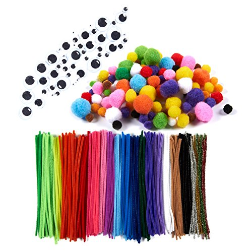 450-Pack Pipe Cleaners - Chenille Stems, Includes Wiggle Googly Eyes, Assorted Pom Poms, Kids Craft Supplies for DIY Projects, Varied Colors, Multiple Sizes (Thick Chenille Stem)