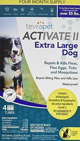 TevraPet Activate II Flea and Tick Topical, Extra Large Dogs 55 Plus Pounds, 4 Count - Advantix Flea Treatment