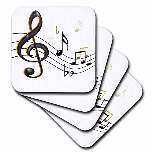 3dRose cst_55502_2 Music Notes Clef Sixteenth Quarter Beamed Flats and Sharps Soft Coasters, Black/Gold, Set of 8 (Notes Note Quarter Music)