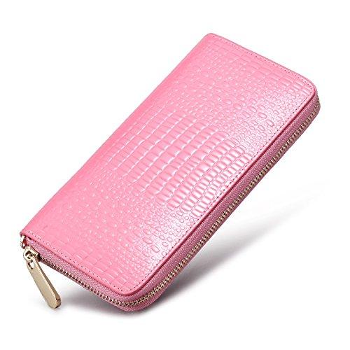Tenere signorina Bao Qian Zip bovina Bill clip portatili Modelli Femminili Portafoglio donna ( colore : Rosa )