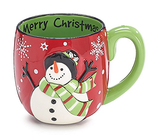 Ceramic Red and Green Embossed Snowman Coffee -