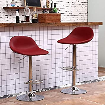 Adjustable Swivel Barstools with Back for Home Bar Kitchen Counter, New Modern Claret PU Leather Hydraulic Bar Chair-Set of 2, Hold Up to 350lb