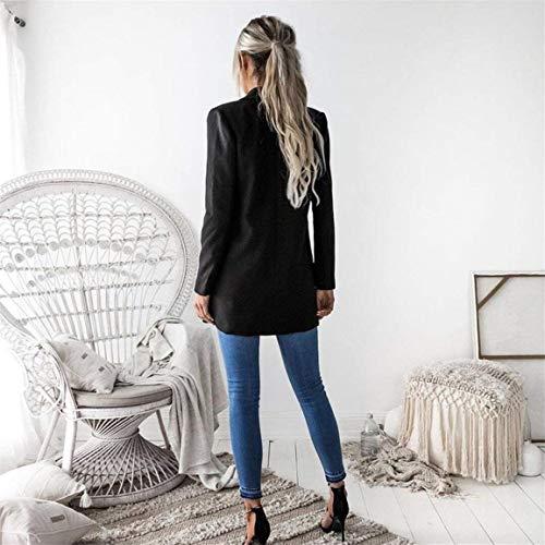 Moda Moda Moda Giacca Outwear Abbigliamento Ragazza Leisure Schwarz Monocromo Elegante Elegante Elegante Giovane Donna Blazer Da Lunga Moda Autunno Tailleur Casual Manica Bavero Suit 4dxntnUawq