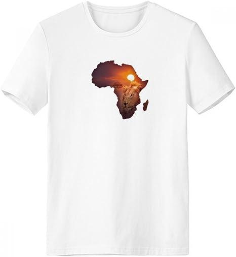 DIYthinker León Africano Pradera Nombre Continente Mapa De Cuello Redondo Camiseta Blanca De Manga Corta De La Comodidad Camisetas Deportivas Regalo: Amazon.es: Deportes y aire libre