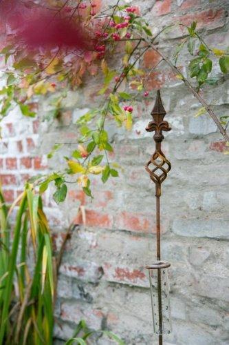 KUHEIGA Regenmesser Lilja Höhe 124cm Schmiedeeisen Rost auch als Rankstab