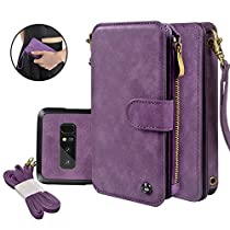 Galaxy Note 8 Case, Cornmi Wallet Case 14 Card Slot Wristlet Shoulder Strap Flip Leather Zipper Purse for Samsung Galaxy Note 8
