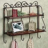 Artesia Brown Wooden, Wall Shelf With Key Hanger