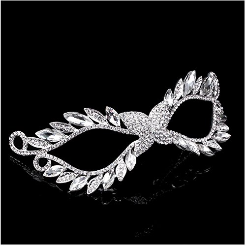 Xiwstar Luxury Crystal Rhinestone Fancy Dress Up Masquerade Eye Mask for Women