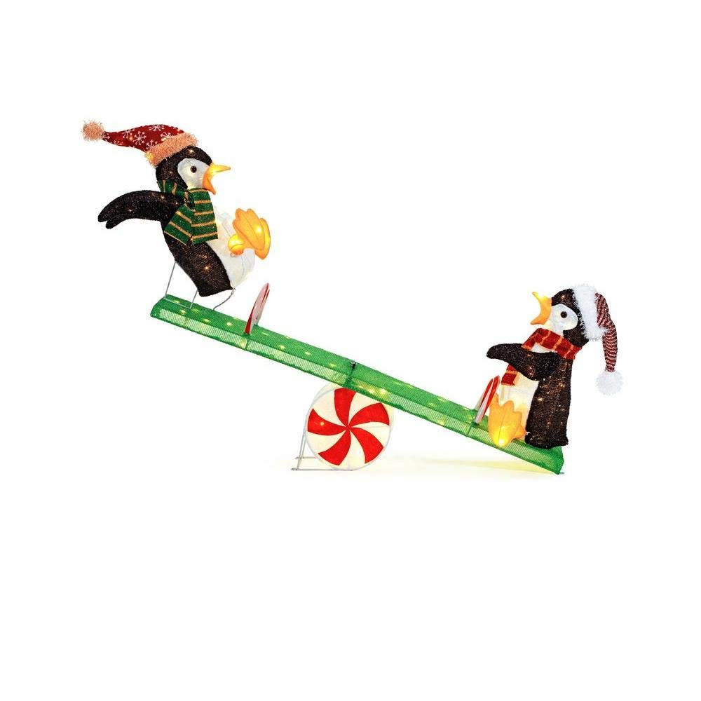 Home Accents Holiday 48 in. Christmas Decorations LED Lighted Tinsel Happy Penguins on Seesaw