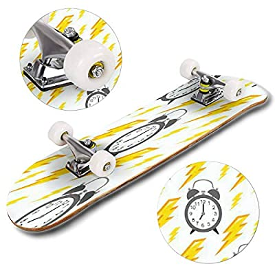 Classic Concave Skateboard Seamless Pattern with Alarm Clock and Yellow Lightning Time Pattern Longboard Maple Deck Extreme Sports and Outdoors Double Kick Trick for Beginners and Professionals : Sports & Outdoors