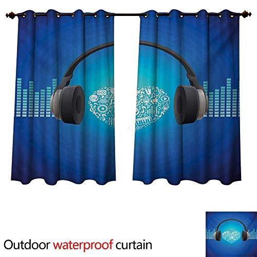 WilliamsDecor Music Outdoor Curtain for Patio Headphones Earphones Heart Shape Disk on Circular Geometrical Background W63 x L72(160cm x 183cm) (Earphones Bravo Headphones)