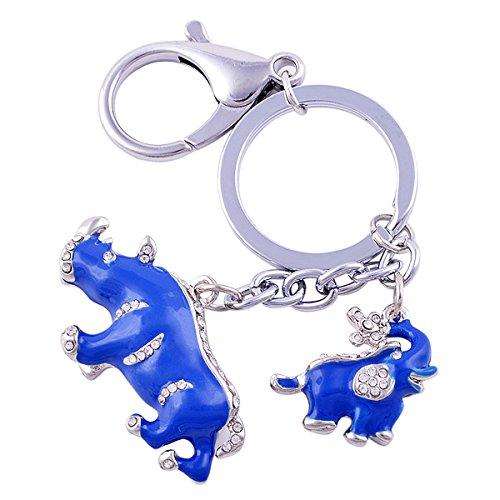 Amulet Elephant - Feng Shui Blue Rhinoceros and Elephant Protection KeyChain Charm Amulet Handbag Hanging W1041