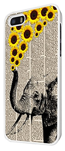 570 - Funky Aztec elephant Floral Sunflowers Trunk Design iphone 5 5S Coque Fashion Trend Case Coque Protection Cover plastique et métal - Blanc