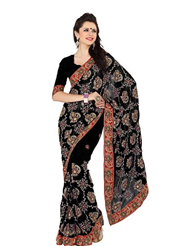 Faux Georgette (Mirchi Fashion Women's Faux Georgette Zari Party Wear Saree Free Size Black)