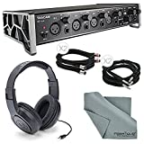 "Tascam US-4x4 4-Channel USB Audio Interface Bundle with 2 X ¼"", Cable + 2 X XLR Cable + Samson Stereo Headphones+ Fibertique Cleaning Cloth"