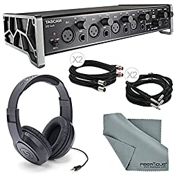"""Tascam US-4x4 4-Channel USB Audio Interface Bundle with 2 X ¼"""", Cable + 2 X XLR Cable + Samson Stereo Headphones+ Fibertique Cleaning Cloth"""