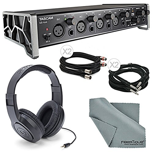 Tascam US-4x4 4-Channel USB Audio Interface Bundle with 2 X ¼