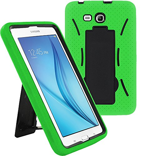 Galaxy Tab E 7.0 Lite Case SM-T113, KIQ Shockproof Heavy Duty Case Kickstand Cover, for Samsung Galaxy Tab E 7.0 /Tab 3 Lite 7-inch T110/T113/T116/T111 (Hybrid Black/Green)