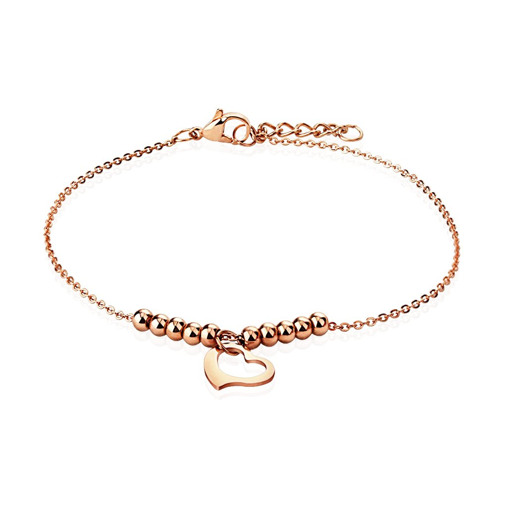 Girls Anklet Heart Dangle Bracelet Rose Goldtone BodyJ4You FJ9615