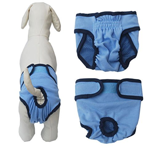 Rachel Charm Dog Diaper Washable Diapers For Dogs Durable Doggie Diapers Pants - For Both Male And Female Dogs (S, Blue-A)