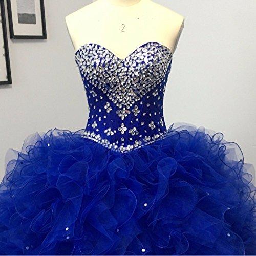 24d73b90012 Diandiai Sweetheart Quinceanera Dress Beads Ruffles Ball Gown Prom Dress Red  8