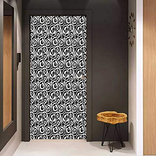 Bullseye Tattoo Designs - Onefzc Soliciting Sticker for Door Black and White Circular Pattern Monochrome Dots with Bullseye Design Abstract Modern Art Mural Wallpaper W23.6 x H78.7 Black White