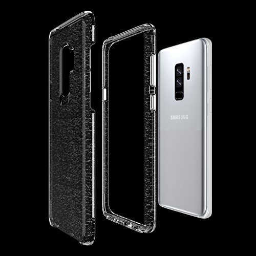 For Samsung Galaxy S9 Plus Case, Marval.P Crystal Clear Glitter Stars case, Bling 2-in-1 Dual Layer Skin Fit Case, PC + Soft Air Bumper Protective Defender Shell Holder Cover, Shock Absorption ()