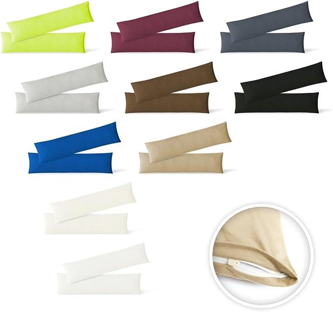 EXKLUSIV HEIMTEXTIL Kissenh/ülle Kissenbezug Doppelpack mit Rei/ßverschluss hochwertige Jersey Qualit/ät Anthrazit 40 x 145 cm