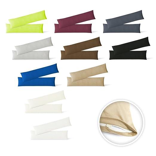 Funda de cojín, juego de 2 unidades, con cremalleras, 5 tamaños, de alta calidad, 100 % algodón, antracita, 40 x 145 cm