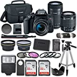 Canon EOS Rebel T7i DSLR Camera Bundle with Canon EF-S 18-55mm f/4-5.6 IS STM Lens + Canon EF-S 55-250mm f/4-5.6 IS STM Lens + 2pc SanDisk 32GB Memory Cards + Accessory Kit