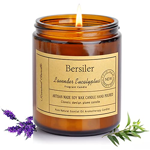 Bersiler Aromatherapy Candles, 7 OZ Long Lasting Lavender Eucalyptus Scented Candles for Home & Bathroom Gift for Women /Mother'day