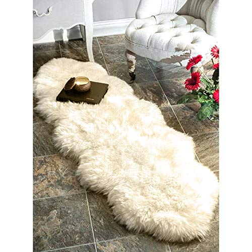 (YJ.GWL Premium Soft Sheepskin Rug (2x6.5 Feet), Shaggy & Thick Wool Fur Runner Area Rugs Chair Sofa Cover for Bedroom Bedside, Natural Ivory White)