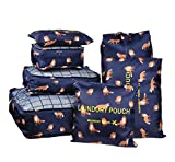 Vercord 7 Pieces Travel Suitcase Luggage Organizer Packing Cubes With Waterproof Bags, Dark Blue Fox