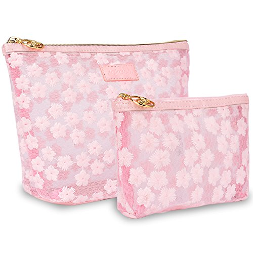 Large Makeup Bag for Purse-Zakaco Cute Pink Floral Cosmetic Pouch Bags Travel Organizer Set of 2 for Women's Accessories Toiletries Beauty Stuff Essential Traveling Accessory