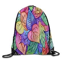 "Watercolor Space Leaf Print Shoulder Drawstring Backpack String Bags Outdoor Travel Handbag 17""x14"""