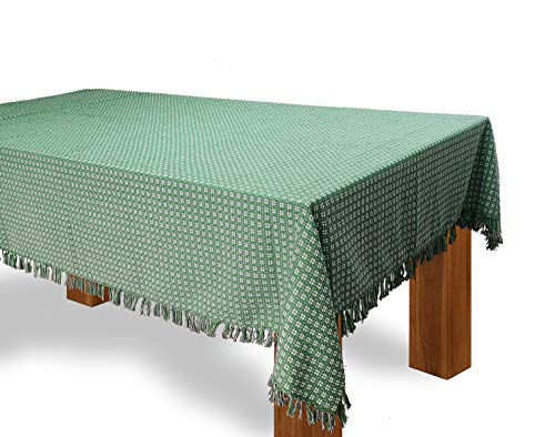 HomweLinen Rectangular Table Cloth, 100% Cotton Woven Fringed Table Cloth - 60x102 Inch, Bottle Green/White (Tablecloth Cotton Woven)