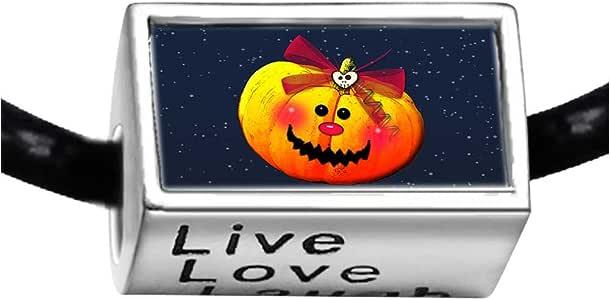 Chicforest Silver Plated Halloween cute Jack O lantern pumpkin Photo Live Love Laugh Charm Beads Fits Pandora Charm Bracelet