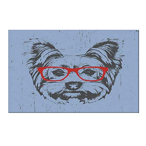 YOLIYANA Yorkie Durable Door Mat,Yorkshire Terrier Portrait Red Nerd Glasses Tainted Backdrop Animal for Home Office,15.7