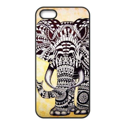 Elephant Drawing Ethnic Pattern Art 001 coque iPhone 4 4S cellulaire cas coque de téléphone cas téléphone cellulaire noir couvercle EEEXLKNBC24805