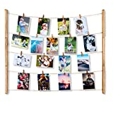 Kitlit Hanging Photo Display Frame Wood with 30 Clips for Picture Wall Decor DIY Baby Family Photo Set 26x31 inch Picture Frames&Prints Multi Photos Organizer&Collage Artworks