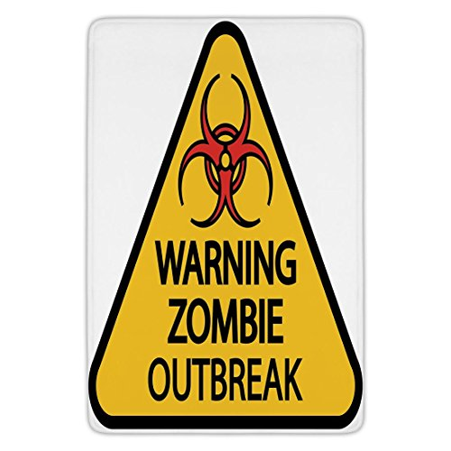 Bathroom Bath Rug Kitchen Floor Mat Carpet,Zombie Decor,Warning Zombie Outbreak Sign Cemetery Infection Halloween Graphic Decorative,Earth Yellow Red Black,Flannel Microfiber Non-slip Soft (Please Take One Halloween Sign)